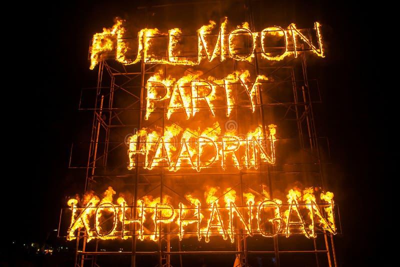 Ogni mese partito della luna piena della spiaggia di Phangan immagini stock libere da diritti