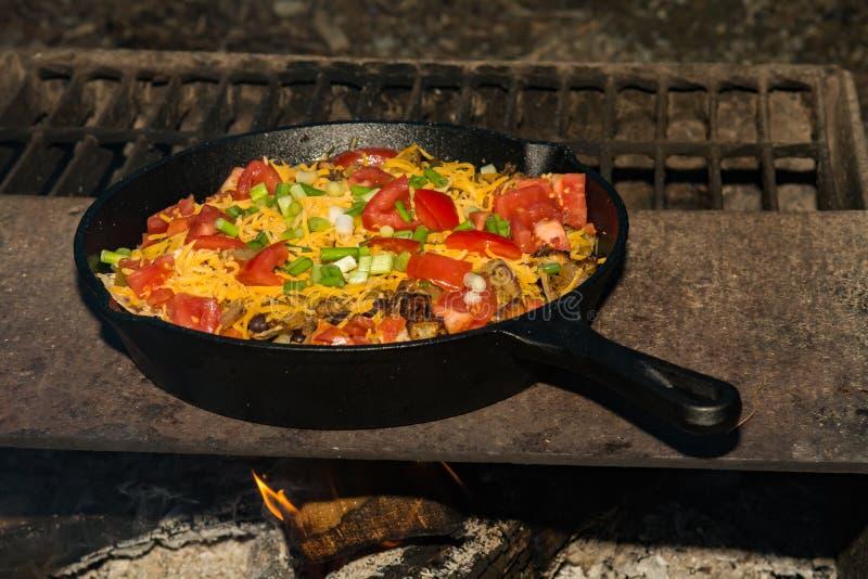 Ognisk Nachos na grillu fotografia royalty free