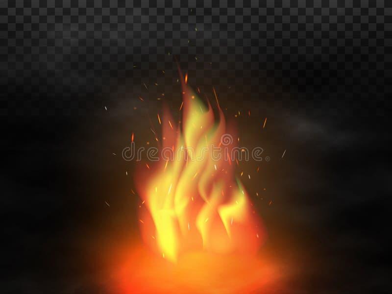 Ognisko i dym Realistyczny ognisko z pożarniczymi iskrami Rozjarzone cząsteczki lata up na przejrzystym tle Rewolucjonistka i ilustracja wektor