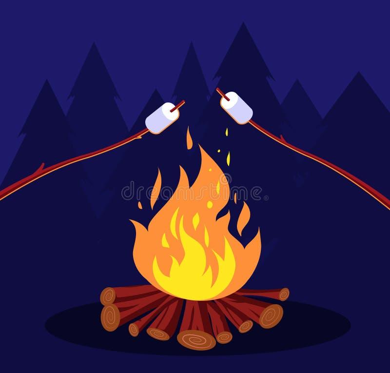 Ognisko i marshmallow Przyjaciele w noc campingu przy ogniskiem Marshmallow wektoru pojęcie ilustracji