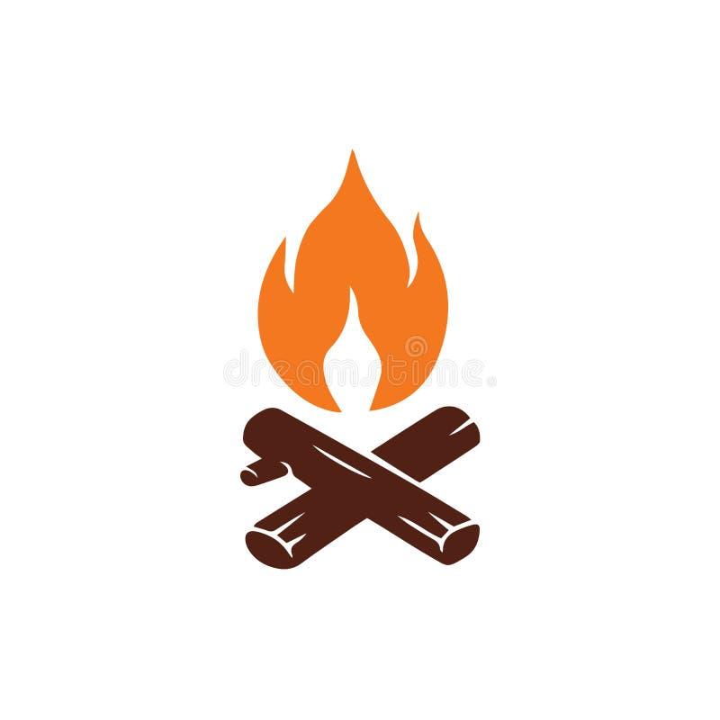 Ognisko logo dla Halnej Campingowej przygody Wektorowa rocznik ilustracja royalty ilustracja