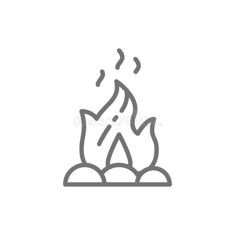 Ognisko, ogień, ognisko kreskowa ikona ilustracja wektor