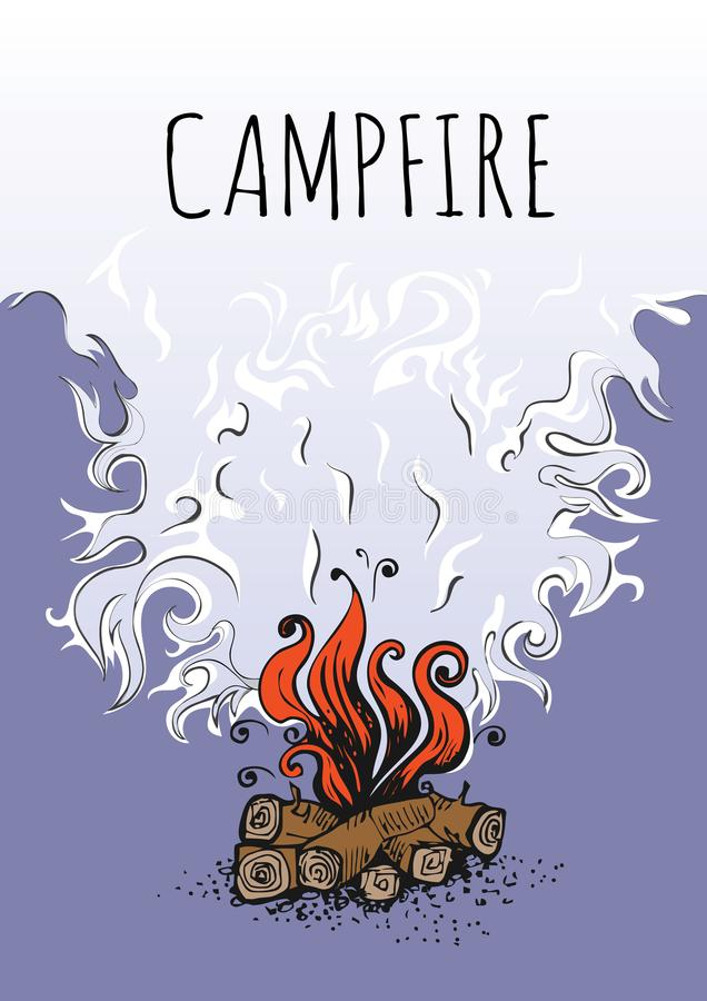 Ognisko, ogień nad drewno belami i chmura dymu, również zwrócić corel ilustracji wektora ilustracja wektor