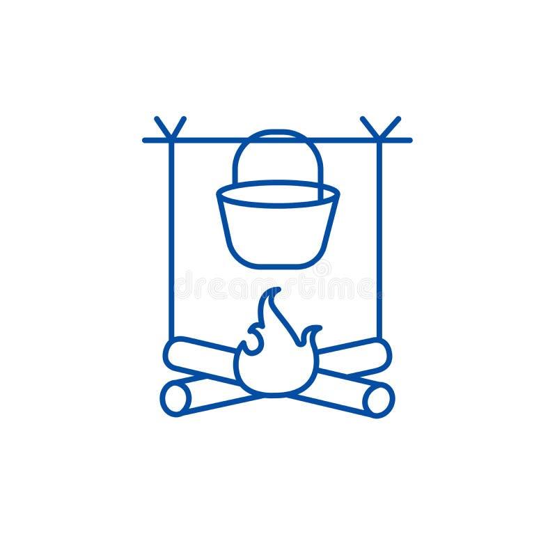 Ognisko, podróż campingu linii ikony pojęcie Ognisko, podróż campingowy płaski wektorowy symbol, znak, kontur ilustracja royalty ilustracja