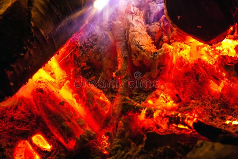Ognisko robić brzozy łupki zakończenie fotografia royalty free