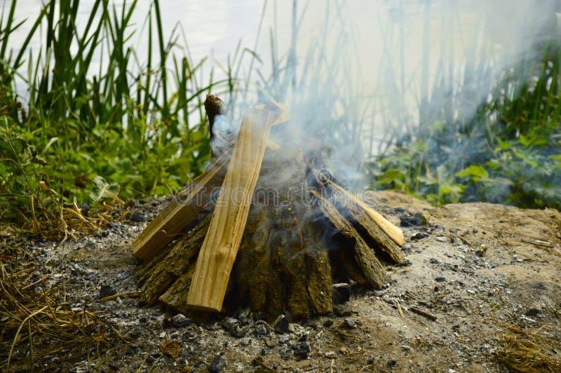 Ognisko w lesie blisko pięknego jeziora fotografia stock
