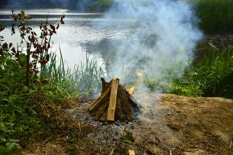 Ognisko w lesie blisko pięknego jeziora zdjęcia stock