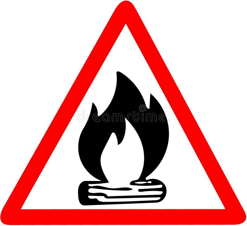 Ognisko z łupki ikony ogienia czerwonej trójgraniastej ostrożności drogowym znakiem odizolowywającym na białym tle royalty ilustracja