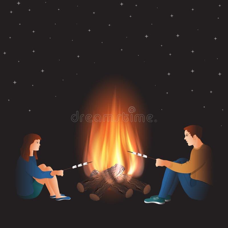 Ognisko z chłopiec i dziewczyny kulinarnym marshmallow royalty ilustracja