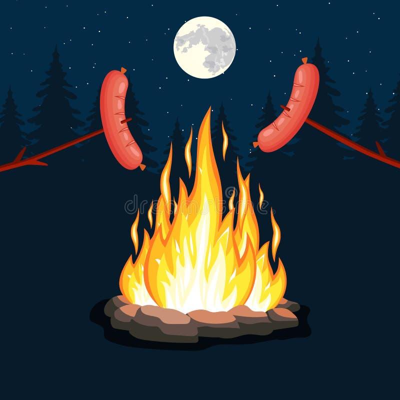Ognisko z grill kiełbasą, royalty ilustracja