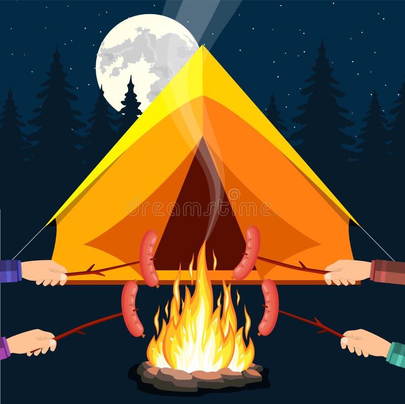Ognisko z marshmallow ilustracja wektor