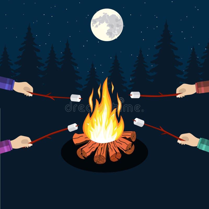 Ognisko z marshmallow royalty ilustracja