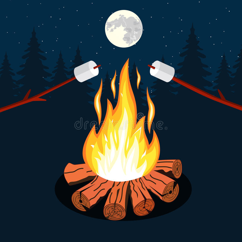 Ognisko z marshmallow ilustracji