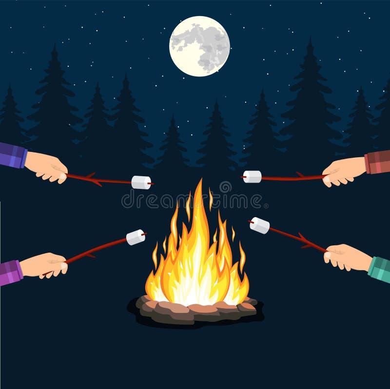 Ognisko z marshmallow, kamień, ilustracji