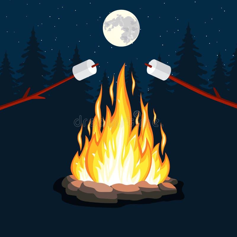 Ognisko z marshmallow, kamień, royalty ilustracja