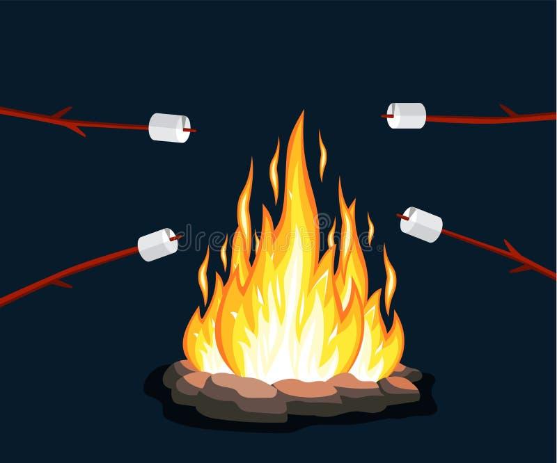 Ognisko z marshmallow, kamień, ilustracja wektor