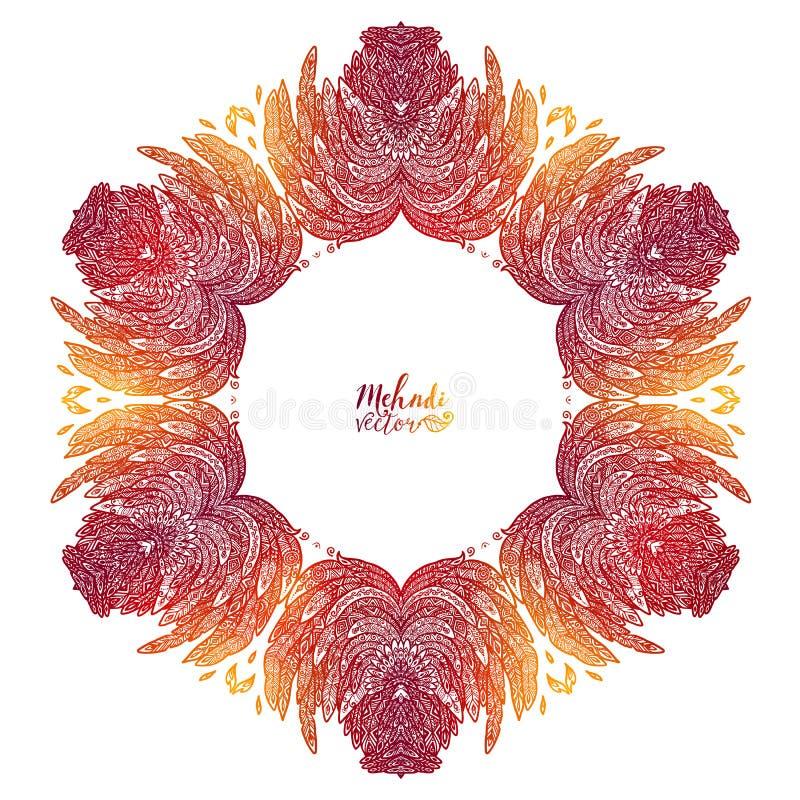 Ognista czerwień i pomarańczowych doodle stylu piórek wektoru kwiecista rama ilustracji