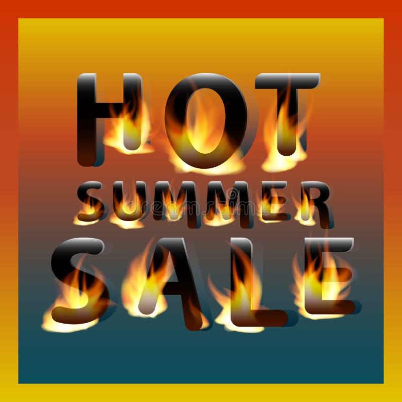 Ognista gorąca lato sprzedaż pojęcia projekta restauraci szablon Promocyjny marketingowy sztandaru plakat royalty ilustracja