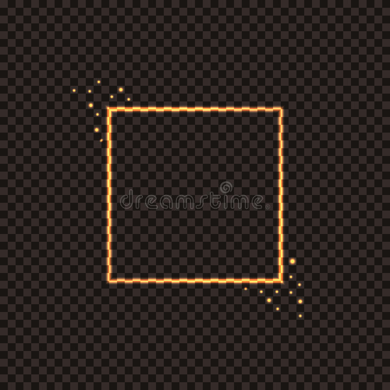 Ognista kwadrat rama z iskrami Świąteczna złota boże narodzenie rama dla dekorować twój projekty royalty ilustracja