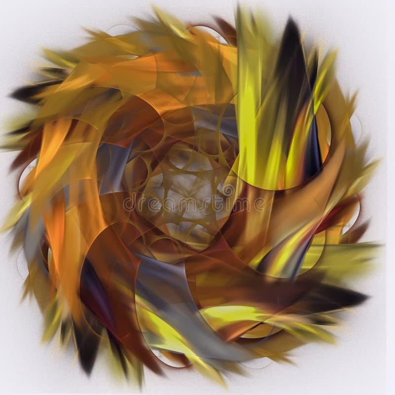 Ognisty round płomienia fractal komputer wytwarzał abstrakcjonistycznego tło ilustracja wektor