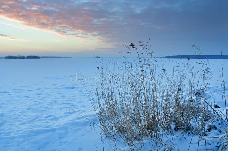 Ognisty wschód słońca nad jeziornym Uvildy w zimie, południowy Ural, Chelyabinsk region zdjęcia stock