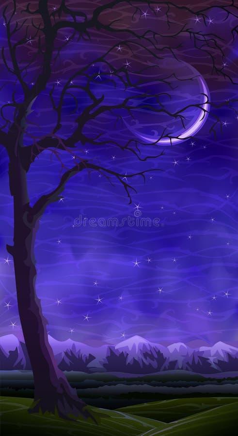 ogołaca krajobrazową osamotnioną noc nad tocznym drzewem royalty ilustracja