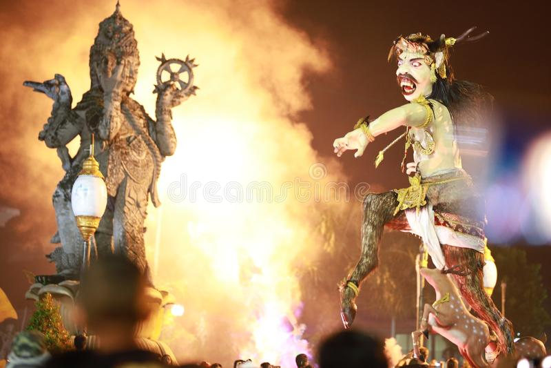 Ogoh-ogoh Μπαλί και catur άγαλμα muka στοκ εικόνες