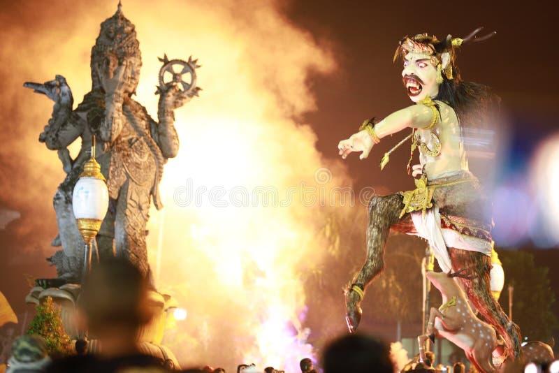 Ogoh-ogoh Bali e statua di muka del catur fotografia stock
