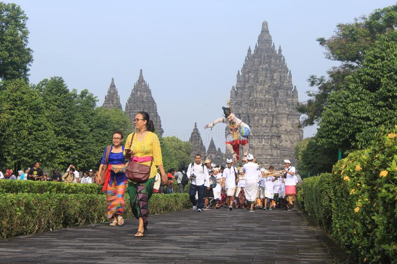 Ogoh-ogoh parade at Prambanan temple stock photo