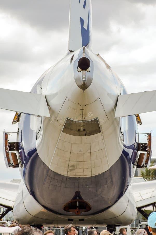 Ogon Aerobus A380 na statycznym pokazie obraz stock