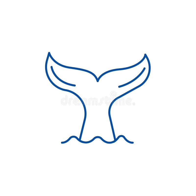 Ogon wielorybi kreskowy ikony pojęcie Ogon wielorybi płaski wektorowy symbol, znak, kontur ilustracja royalty ilustracja