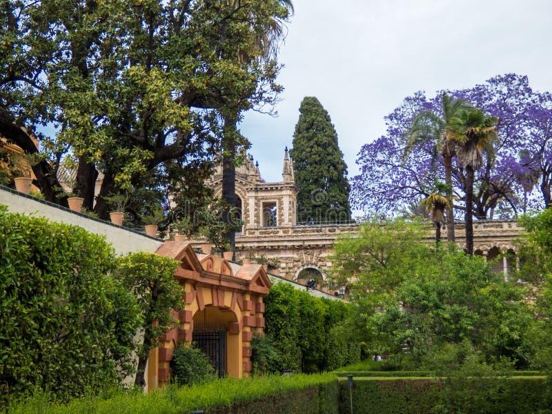 Ogród Alcazar, park, Royal Palace, Seville, Andalusia, Hiszpania, Europa obraz royalty free