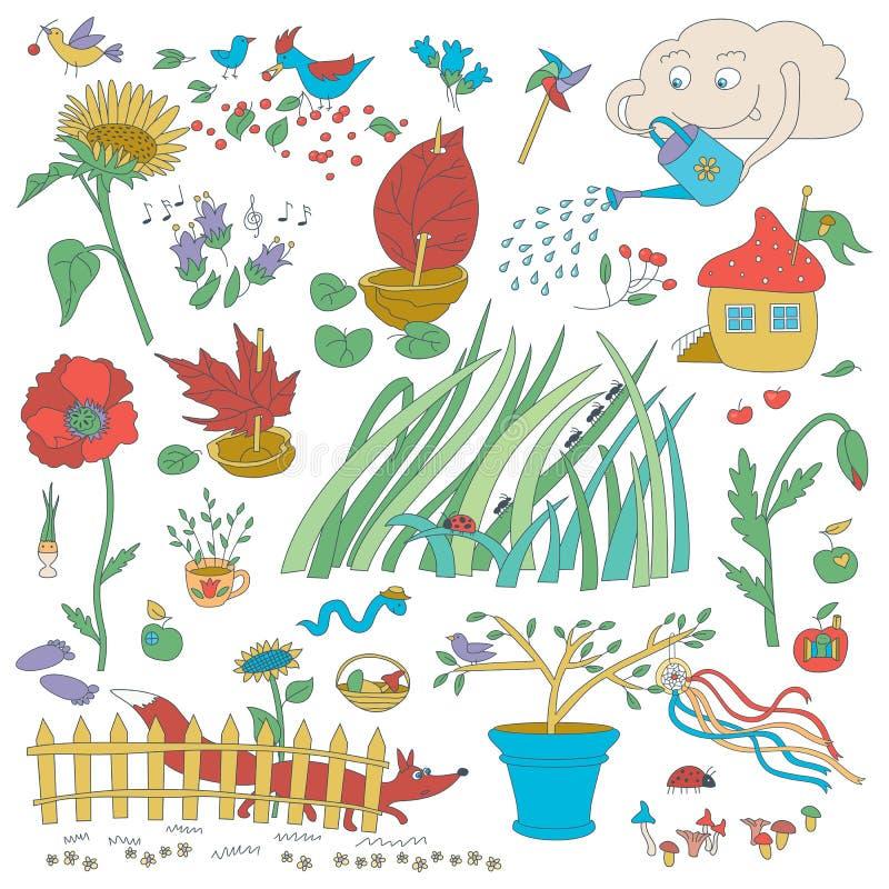 Ogród dekoracje I kwiaty Rośliny I ptaki royalty ilustracja