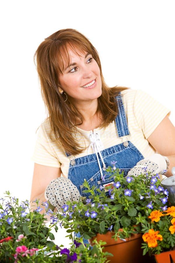 Ogród: Kobiety działanie Puszkować rozsady Dla Ona Ogrodowa zdjęcia royalty free