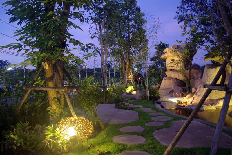 Ogród przy nocą z siklawą zdjęcie royalty free