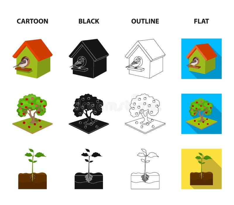 Ogród, uprawiać ziemię, natura i inna sieci ikona w kreskówce, czerń, kontur, mieszkanie styl Roślina, korzeń, trzon, ikony w sec royalty ilustracja
