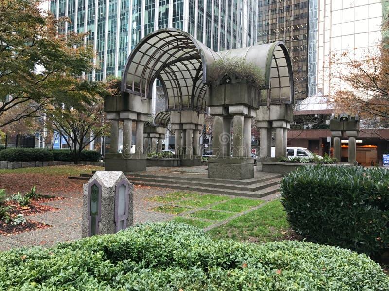 Ogród Wśród W centrum budynków w Vancouver, kolumbia brytyjska fotografia stock