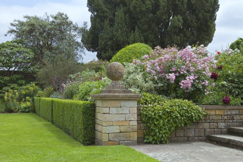 Ogród z kwiatonośnymi różami obrazy stock