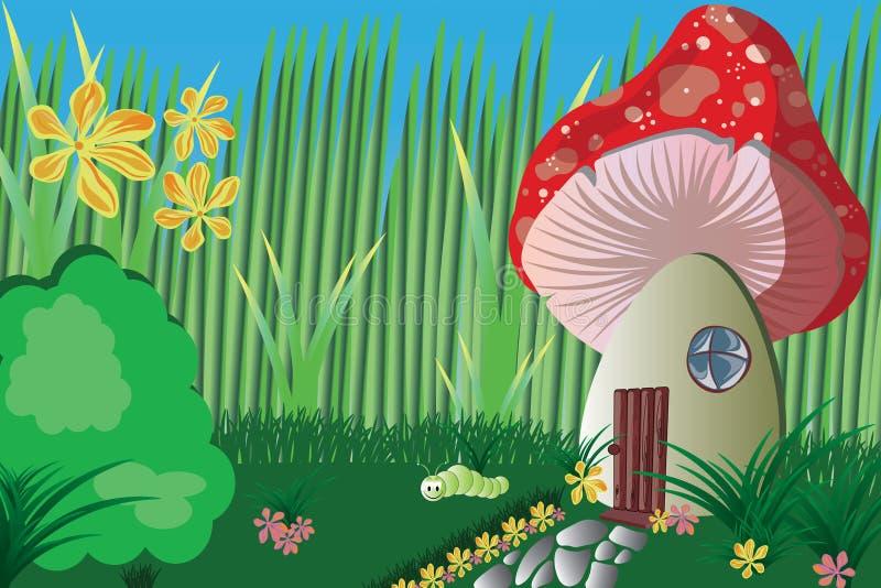 Ogród z pieczarką i roślinami ilustracja wektor
