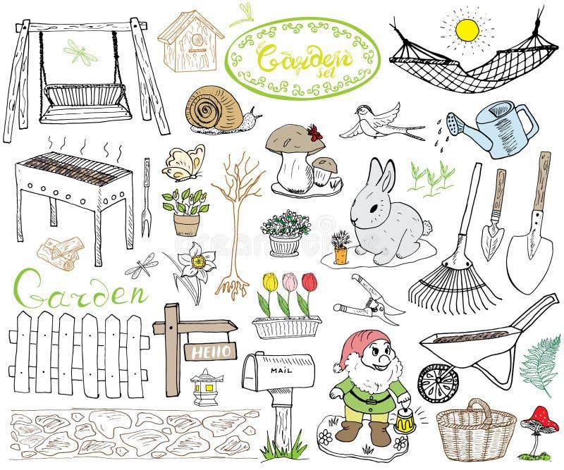 Ogródu set doodles elementy Ręka rysujący nakreślenie z ogrodnictw narzędziami, flovers i roślinami, ogród postacie, gnom ono roz ilustracja wektor