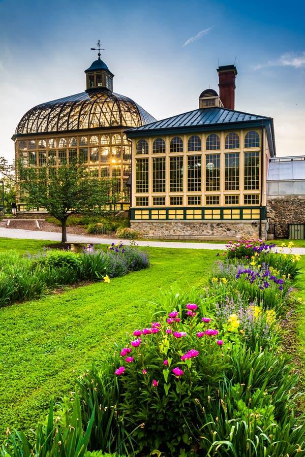 Ogródy i Howard Peters Rawlings konserwatorium przy zmierzchem wewnątrz zdjęcie stock
