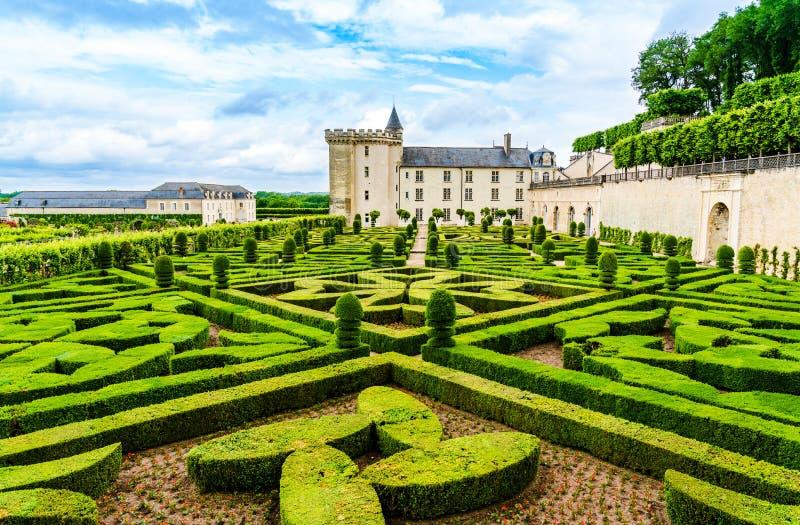 Ogródy kasztel Villandry na Loire Dolinnym terenie w franku obrazy stock