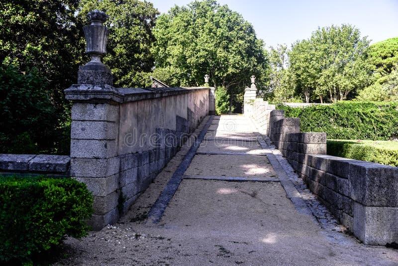 Ogródy książe ` s chałupa Escorial Madryt ` s communit zdjęcie royalty free