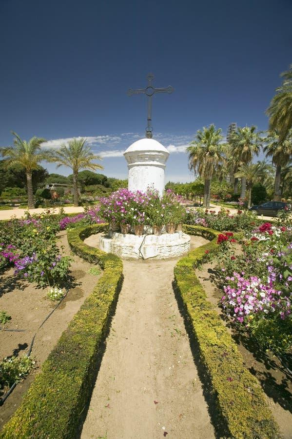 Ogródy 15 wiek franciszkanina Monasterio De Santa Marï ¿ ½ De Los angeles Rï ¿ ½ bida, Palos de los angeles Frontera, dziedzictwo obrazy stock