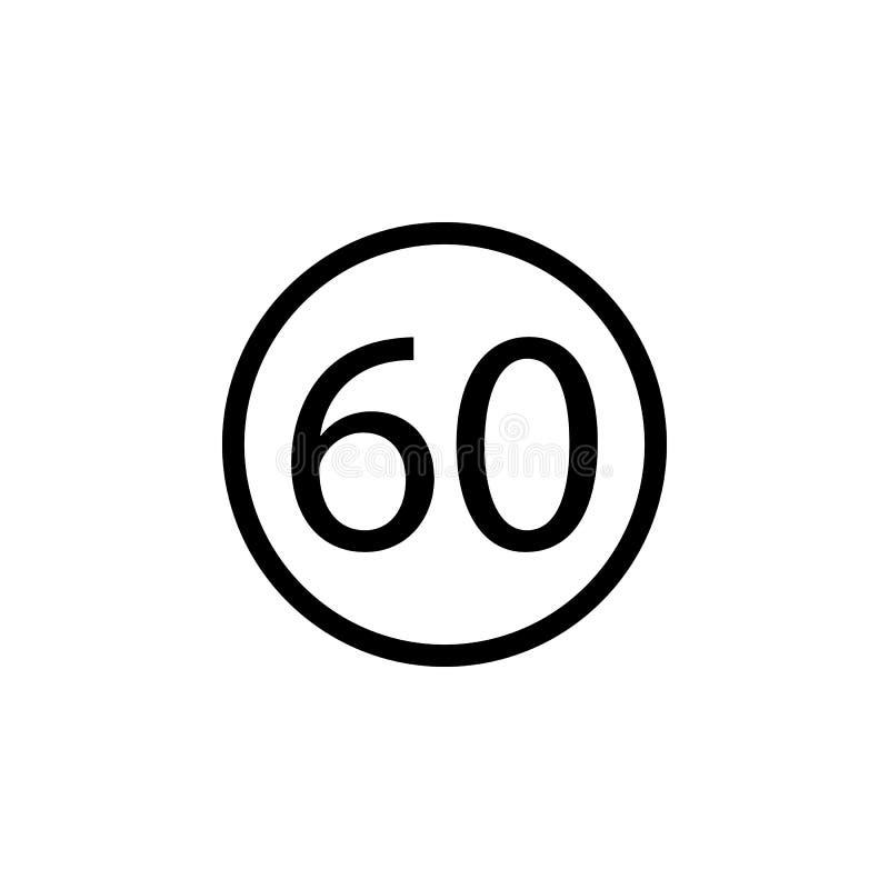 ograniczenia 60 ikona Element sieci ikony Premii ilości graficznego projekta ikona Znaki i symbol inkasowa ikona dla stron intern ilustracja wektor