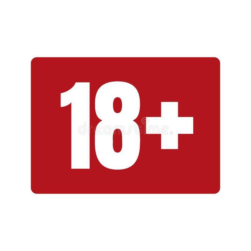Ograniczenie pełnoletnia ikona na czerwonym tle Ikona limita wieku wektorowa płaska ilustracja royalty ilustracja