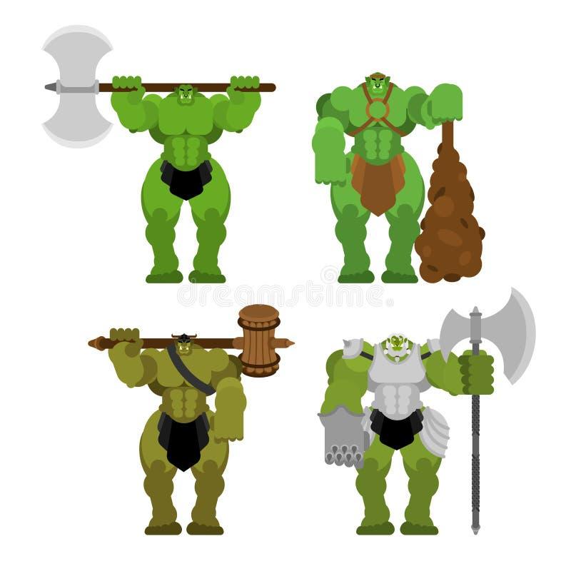 Ogre σύνολο στρατού πολεμιστών r r διανυσματική απεικόνιση