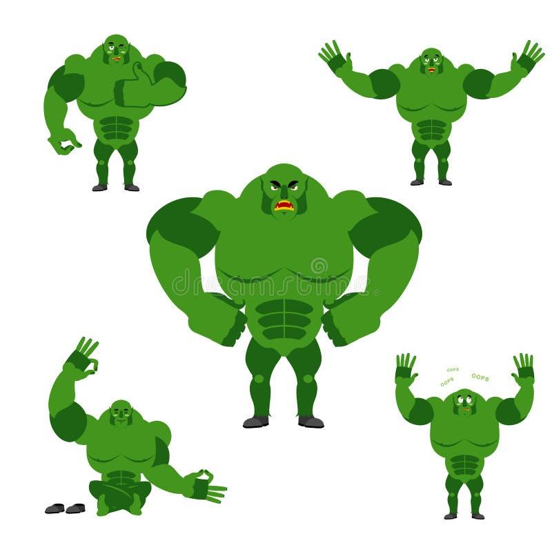 Ogre το σύνολο θέτει Έκφραση του πράσινου τέρατος συγκινήσεων Κακό και γ διανυσματική απεικόνιση