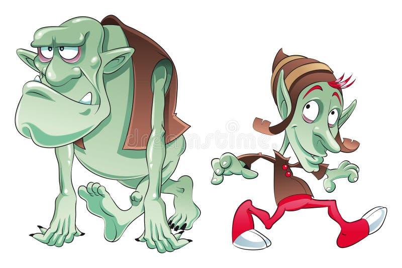 Ogre e duende ilustração royalty free