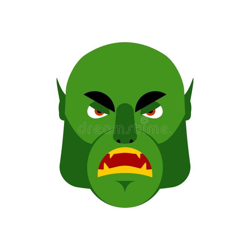 Ogre Emoji fâché Émotion mauvaise de lutin d'isolement Monstre vert fa illustration de vecteur